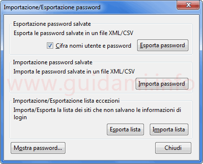 Finestra importazione-esportazione password addon Password Exporter Firefox
