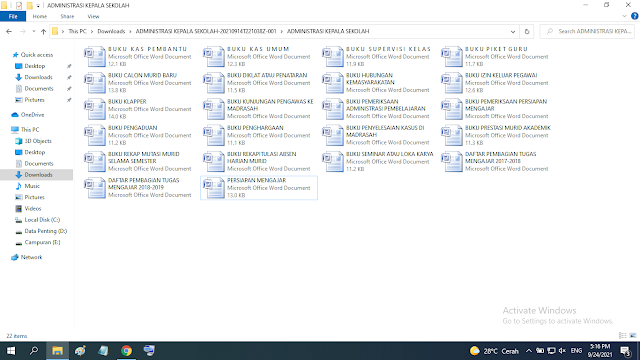 Download Administrasi Kepala Sekolah SD SMP SMA SMK doc
