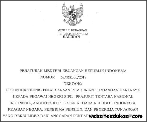 PMK Nomor 59/PMK.05/2019 tentang Juknis Pemberian THR Pimpinan dan Pegawai Non PNS
