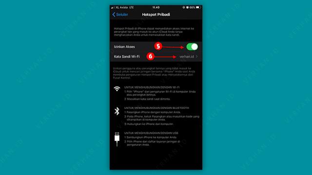 aktifkan hotspot pribadi iphone