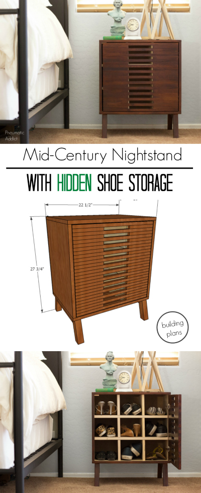 How to build mid century modern nightstand with shoe storage
