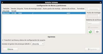 Systemback Configurar particiones