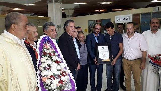 حفل استقبال كبير بمطار اكادير المسيرة للأستاذ عبدالله وهبي الذي توج بجائزة أحسن معلم