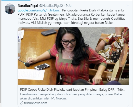 Natalius Pigai: Pencopotan Rieke Diah Pitaloka