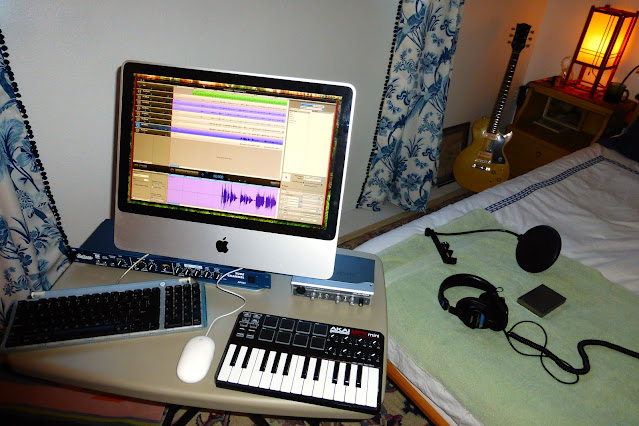 economy recording, bedroom studio, cheap, Jimmy Clifford, Jim Clifford, James Aoyama, obsolete, 2007 iMac, Bellari, RP503, Tube Channel, channel strip, mic, tube microphone preamp, M-Audio Firewire Solo, interface, Gibson, Les Paul, TV Special, Akai MPK Mini, Sony MD7506 headphones, Japanese, rice paper lamp,