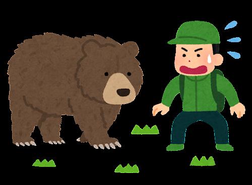 熊に遭遇した人のイラスト