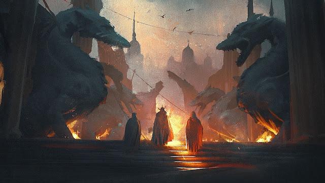 City Dragons Fantasy desktop wallpaper