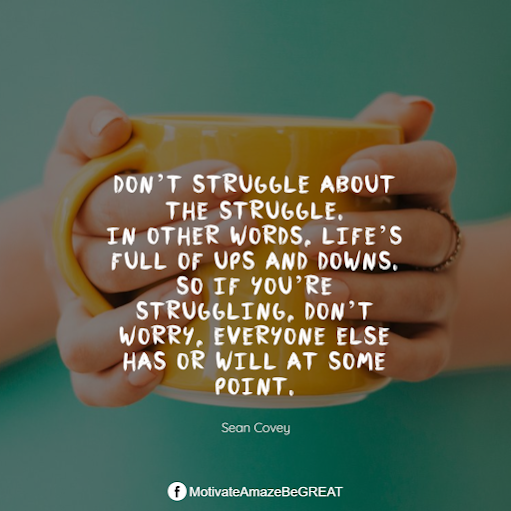"Inspirational Quotes About Life And Struggles: ""Don't struggle about the struggle. In other words, life's full of ups and downs. So if you're struggling, don't worry, everyone else has or will at some point."" - Sean Covey"