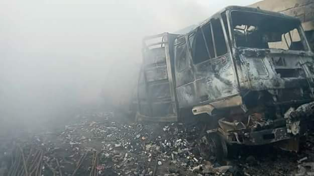 Photos: Fire destroys goods and property worth over N100 million naira at Lagos International Trade complex