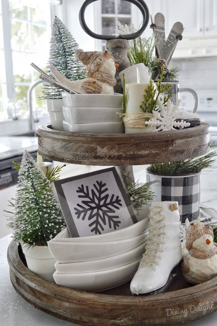 Two-tier wooden tray with winter ice skating theme