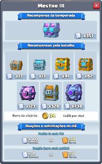 Liga Mestre 3 Clash Royale - Recompensas e Baús