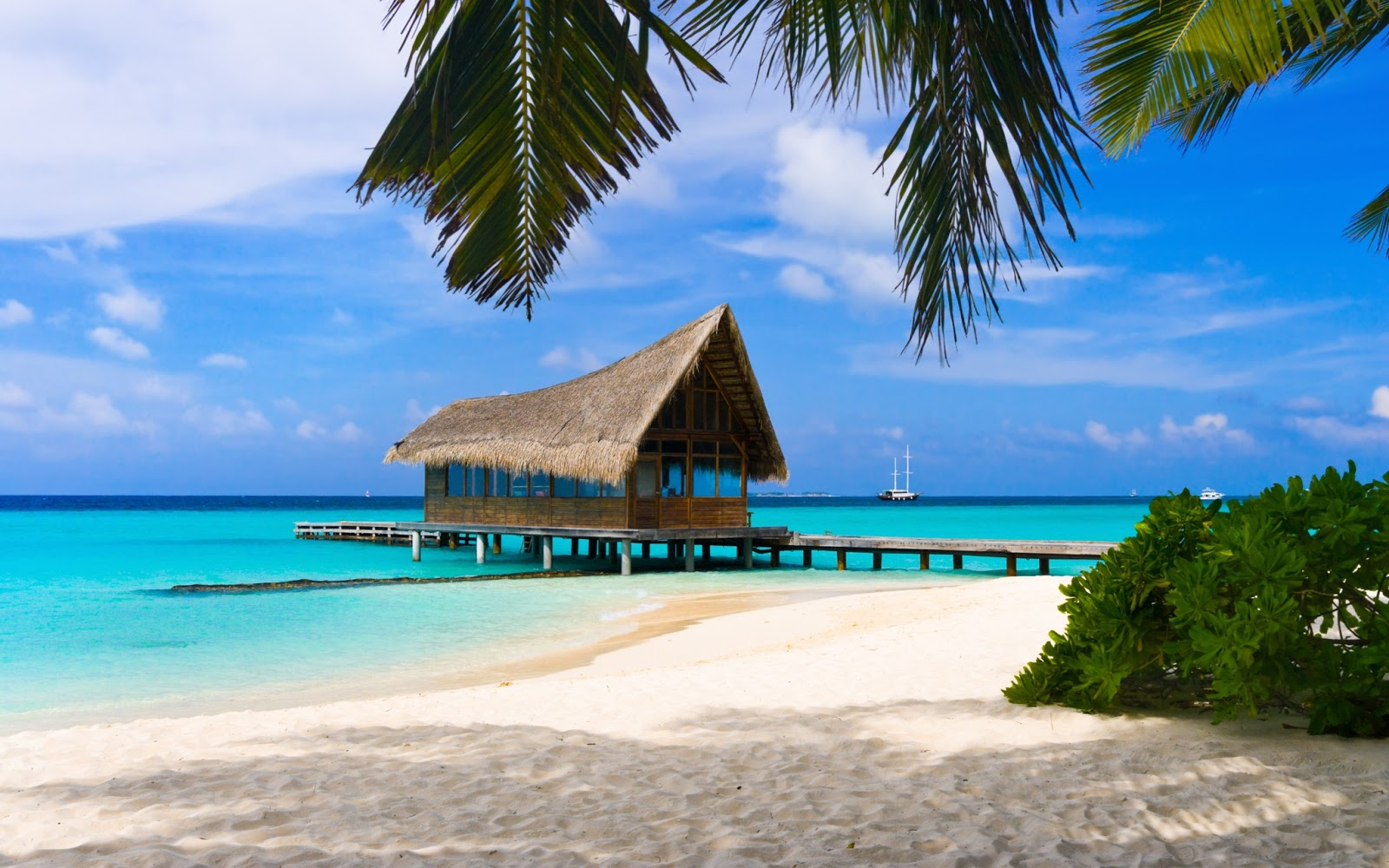 Hd wallpapers gratis fondo de pantalla paisaje caba a en - Cabanas en la playa ...