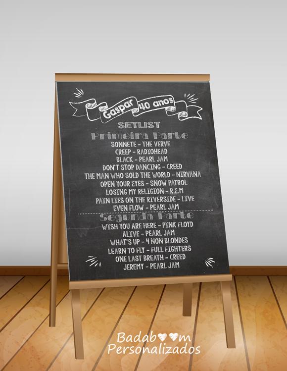 chalkboard, badaboom, quadro lousa, set list, festa, casamento, aniversário