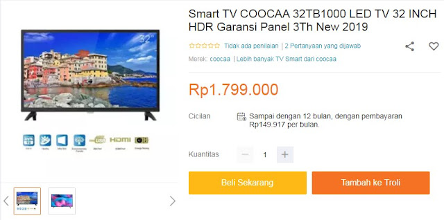 Smart TV COOCAA 32TB1000 LED TV 32 INCH HDR Garansi Panel 3Th New 2019