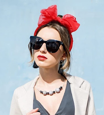 Red 1950's Vintage Style Sheer Chiffon Head Band