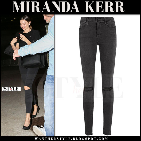 Miranda Kerr in black ripped skinny jeans frame denim what she wore