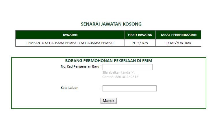 Jawatan Kosong di Institut Penyelidikan Perhutanan Malaysia FRIM 2019