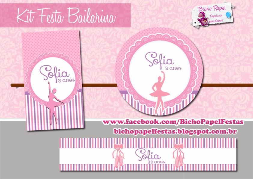 Kit Festa Digital Bailarina Rosa e Lilás