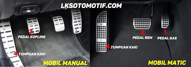 membedakan pedal gas, kopling dan pedal rem