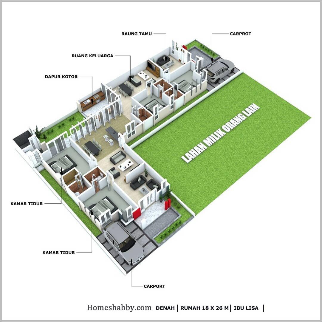 Desain Dan Denah Rumah Leter L Dengan Ukuran 18 X 26 M Menonjolkan Konsep Minimalis Elegan Dan Modern Homeshabby Com Design Home Plans Home Decorating And Interior Design