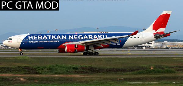 Free Download Airbus A330-300 Air Asia X Hebatkan Negaraku  Mod for GTA San Andreas.