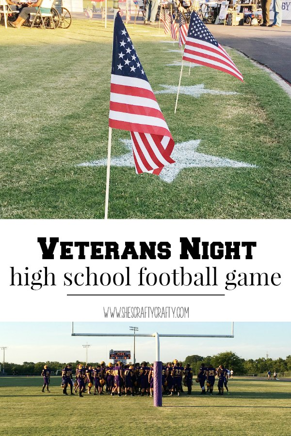 stadium decor, flag, high school football, veterans, stars, football field