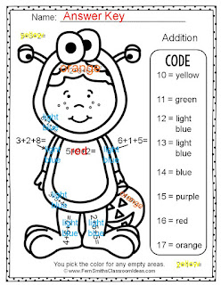 Fern Smith's Classroom Ideas - Fern's Freebie Friday ~ Color By Numbers Halloween Addition With Three Addends Available for Free at TpT