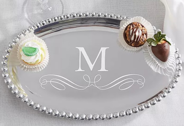Mariposa String of Pearls personalized oval serving tray