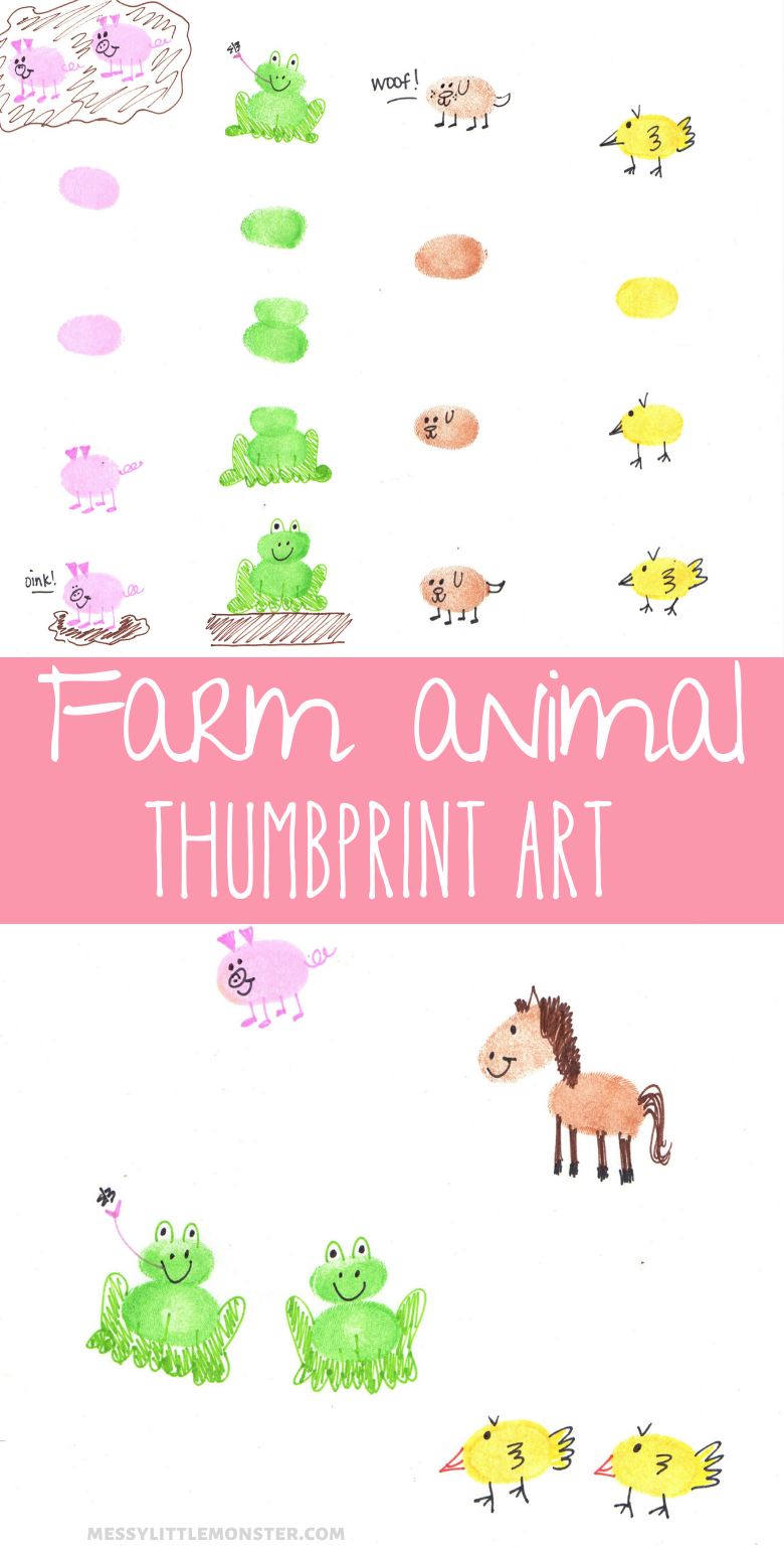 Thumbprint animals. Farm animal thumbprint art for kids.