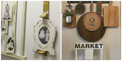 repurposed photo holders and kitchen chair update