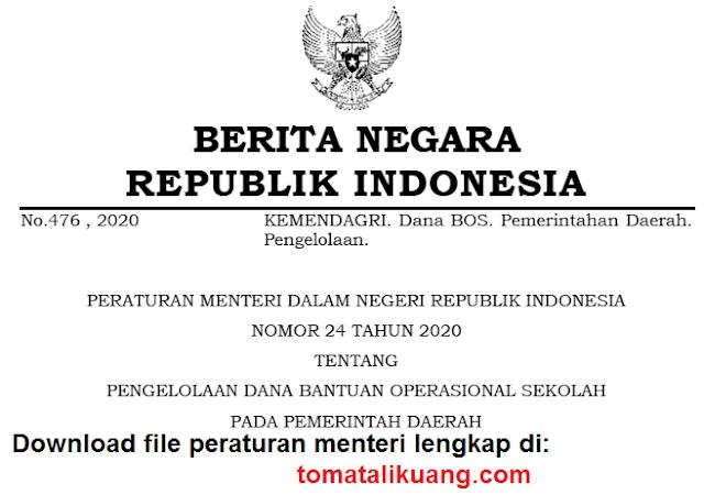 permendagri nomor 24 tahun 2020 pengelolaan dana bos pada pemerintah daerah pdf tomatalikuang.com