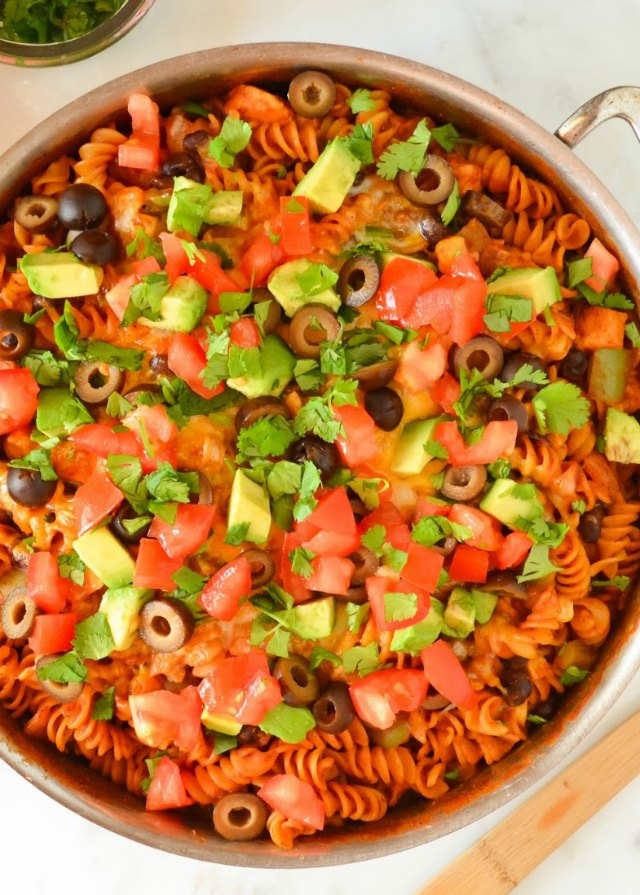 Chicken Enchilada Pasta Skillet recipe is an easy to make dinner all in one pot for easy clean up from Serena Bakes Simply From Scratch.