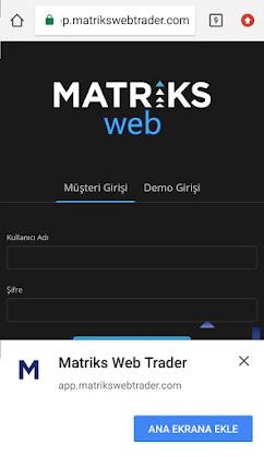 Matriks Web Trader Mobil Android Kurulum