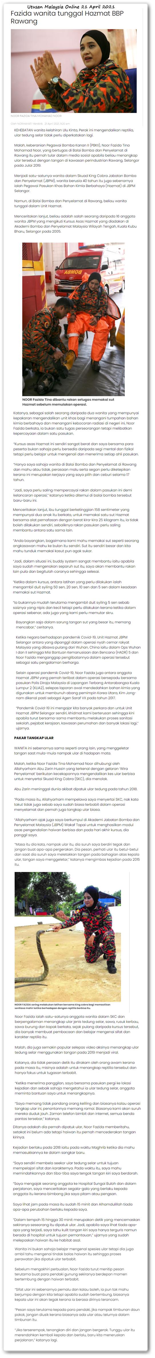 Fazida wanita tunggal Hazmat BBP Rawang - Keratan akhbar online Utusan Malaysia 21 April 2021