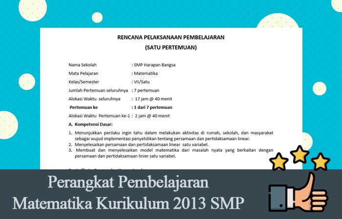 Perangkat Pembelajaran Matematika Kurikulum 2013 SMP Revisi 2016