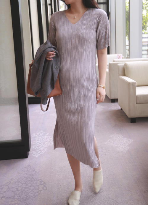 V-Neck Pleated Shift Dress