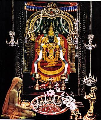 Kanchi Kamakshi Amman and Adi Sankaracharya