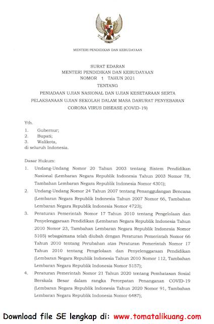 surat edaran mendikbud ri nomor 1 tahun 2021 tentang un peniadaan ujian nasional dan ujian kesetaraan serta pelaksanaan ujian sekolah us dalam masa pandemi covid-19 pdf tomatalikuang.com