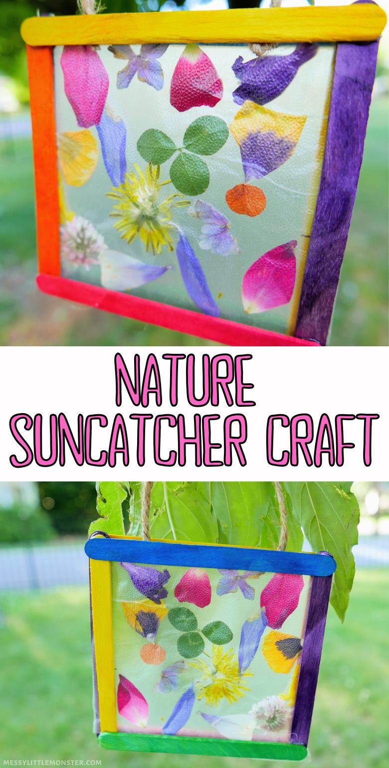 Nature suncatcher craft for kids. Popsicle stick suncatcher craft with flower petals.