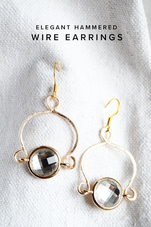 DIY Elegant Hammered Wire Earrings - Minted Strawberry