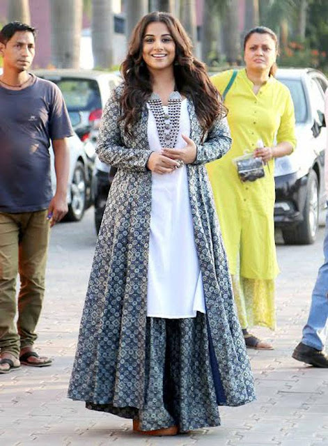 Vidya Balan in White Kurta with Printed Palazzos Matching Jacket by Zoraya