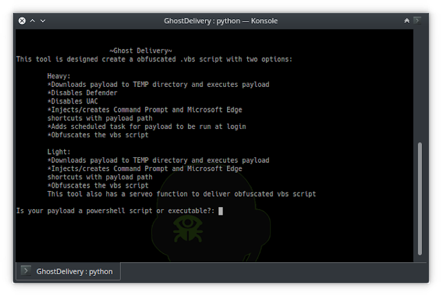 GhostDelivery - This Tool Creates A Obfuscated .vbs Script To Download A Payload Hosted On A Server To %TEMP% Directory, Execute Payload And Gain Persistence