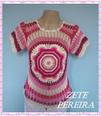 blusa mandala, Blusa de Crochê, Blusas,blusa mandala feita através do pap de Katia Missau