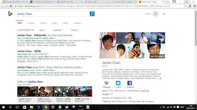 Searching Jackie Chan windows 10