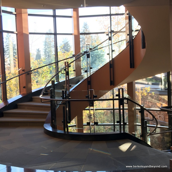 dramatic interior stairwell at The Allison Inn & Spa in Newberg, Oregon