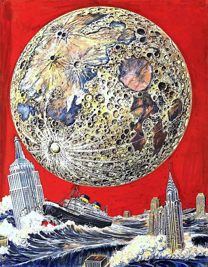 a Frank R. Paul illustration of the moon and Earth colliding