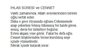 ihlas suresi, Kur'an, Kur'an-ı Kerim, Cennet, hikaye, dini hikaye, güzel hikaye, kıssa