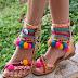 Multi color flat sandals