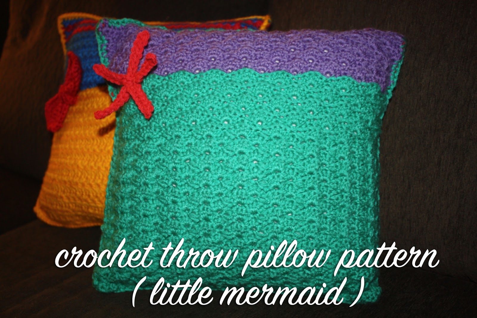 Crochet disney princess inspired throw pillow pattern ariel so as you can see from the picture above this fun throw pillow uses the shell stitch along with the soft seafoam green color of a mermaid fin and the bankloansurffo Choice Image