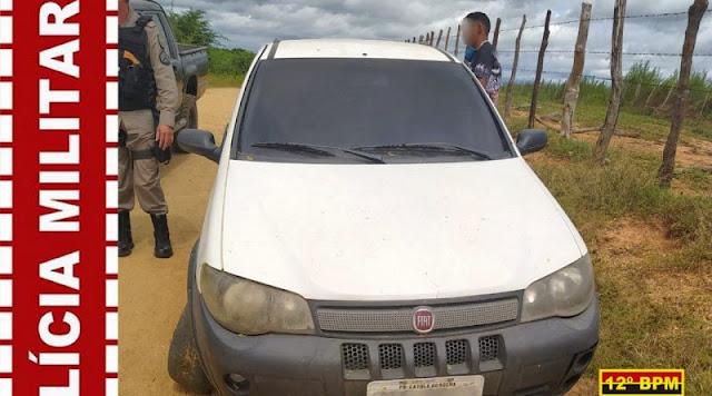 Polícia Militar localiza veículo roubado horas após o crime em Belém do Brejo do Cruz